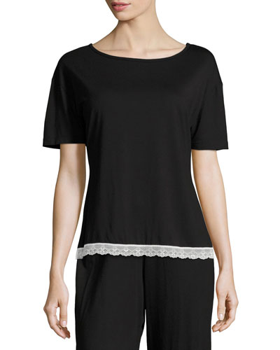 Majestic Lace-Trim Lounge Top, Black/White