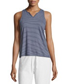 Striped Split-Neck Jersey Lounge Tank, Blue/White