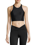 Peek A Boo Racerback Sports Bra, Black