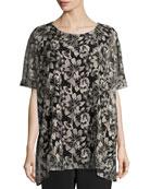 Embroidered Mesh Caftan Top, Natural/Black, Petite