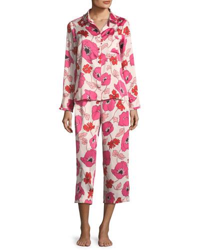 floral-print cropped pajama set