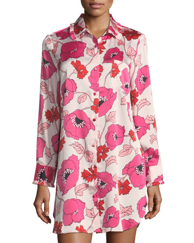 floral-print long-sleeve sleepshirt