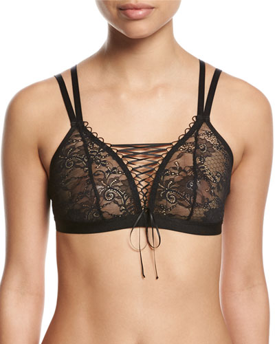 Harlow Lace-Up Bralette, Black