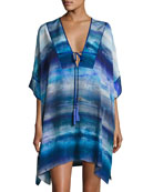 Blue Lagoon Short Silk Caftan, Blue Pattern