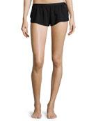 Bisou Lace-Inset Lounge Shorts, Black