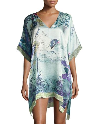 Gatsby Tunic Silk Sleep Shirt, Multi Pattern