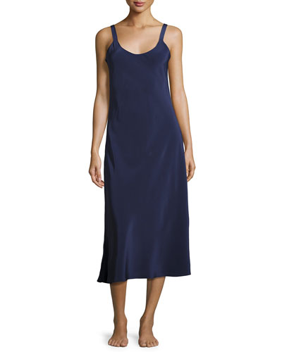 Silk-Crepe Long Nightgown, Dark Blue