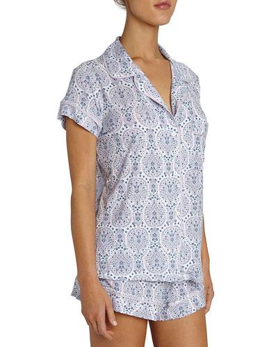 Timba Graphic-Print Short Pajama Set, Purple Pattern