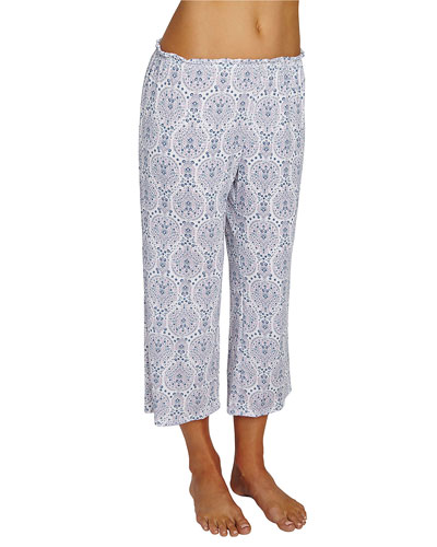 Timba Graphic-Print Cropped Lounge Pants, Purple Pattern
