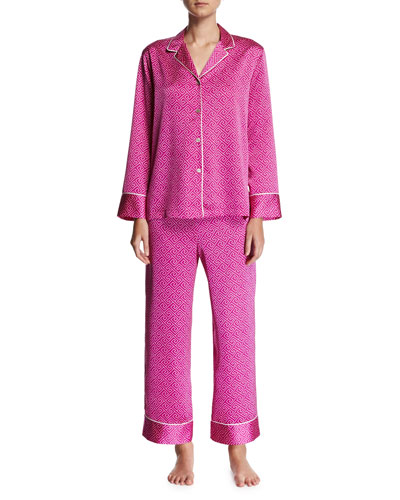 Labrinth Satin Pajama Set, Purple Pattern