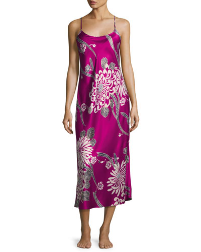 Aziome Long Satin Nightgown, Purple Pattern