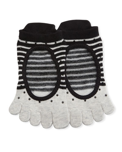 Ballerina Shimmy Full Grip Toe Socks, Gray-Black