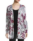 Cashmere Floral-Print Open-Front Cardigan