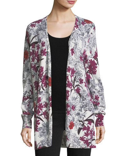 Cashmere Floral-Print Open-Front Cardigan