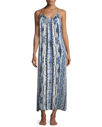 Tie-Dye Racerback Silk Long Nightgown