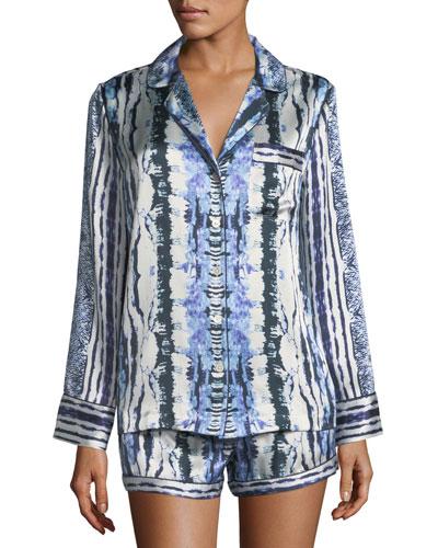 Tie-Dye Silk Short Pajama Set