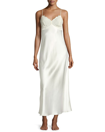 Lace-Trim Silk Nightgown