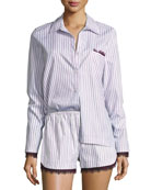 Pima Cotton Long-Sleeve Lounge Top, Purple Pattern