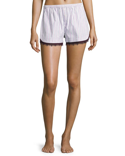 Pima Cotton Lace-Trim Lounge Shorts