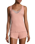 Lace-Inset Ribbed Lounge Tank