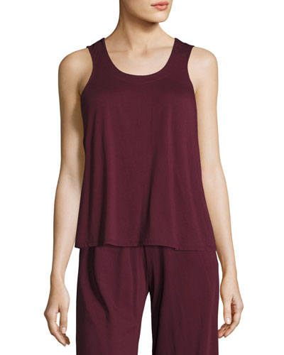 Cross-Back Jersey Lounge Tank, Wine