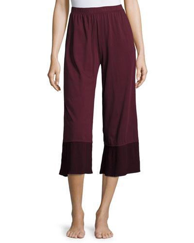 Gauze-Trim Jersey Crop Lounge Pants, Wine