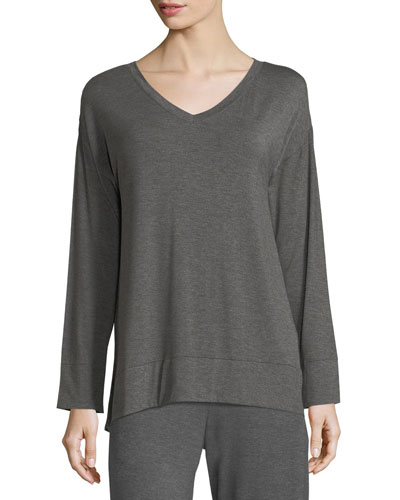 Long-Sleeve Jersey-Knit Lounge Tunic
