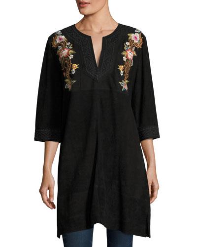 Esmerelda Suede Kaftan Tunic W/ Embroidery , Petite