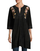 Esmerelda Suede Kaftan Tunic W/ Embroidery , Plus Size