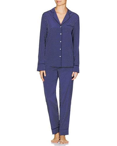 Poppy Snoozing Pants Silk Pajama Set, Dark Ink Dot
