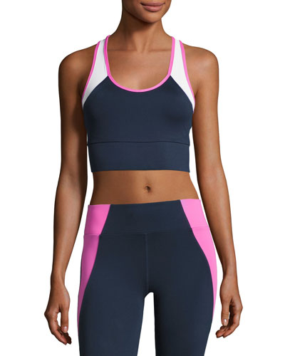 Tread Colorblock Sports Bra, Blue/Pink