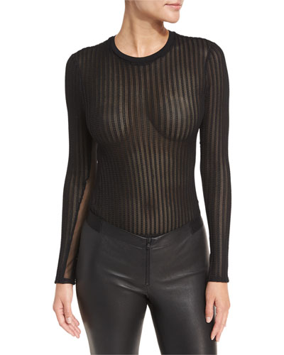 Paige Crewneck Long-Sleeve Sheer Mesh Bodysuit
