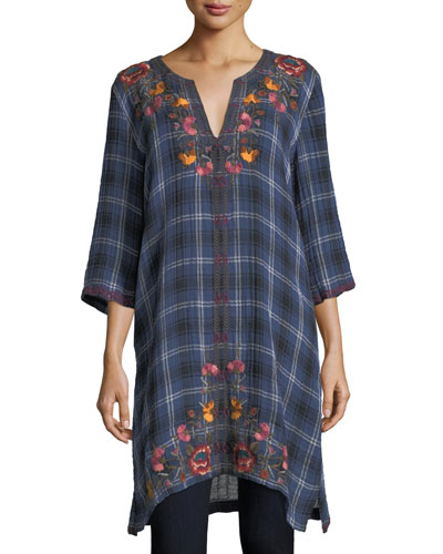 Bonnie 3/4-Sleeve Embroidered Plaid Short Caftan, Plus Size