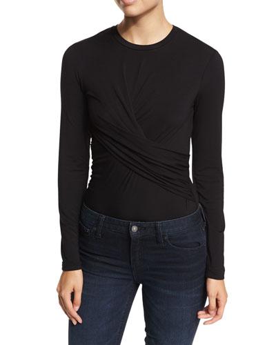 Twist-Front Long-Sleeve Bodysuit