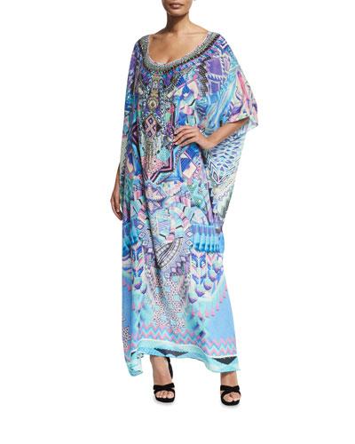 Round-Neck Embellished Printed Silk Kaftan Coverup, One Size