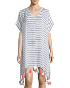 V-Neck Striped Linen Tassel Coverup Kaftan, One Size
