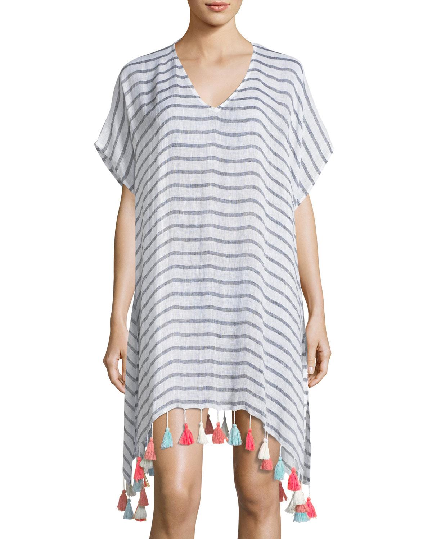 V-Neck Striped Linen Tassel Coverup Kaftan, One Size