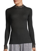 Lillian Lace-Trim Turtleneck Top