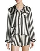 Ruthie Long-Sleeve Striped Silk Pajama Top