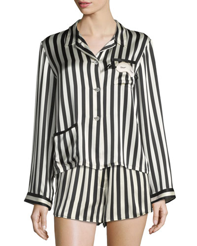 e7ca628ab0 Quick Look. Morgan Lane · Ruthie Long-Sleeve Striped Silk Pajama Top