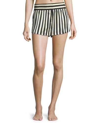 Corey Striped Silk Pajama Shorts