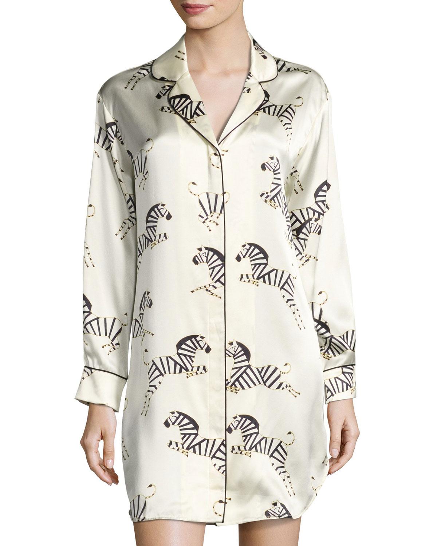 Poppy Zebra-Print Silk Sleepshirt