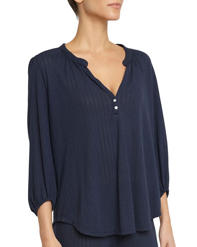 Baxter 3/4-Sleeve Lounge Peasant Top