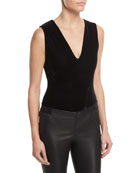Marley V-Neck Sleeveless Velvet Bodysuit