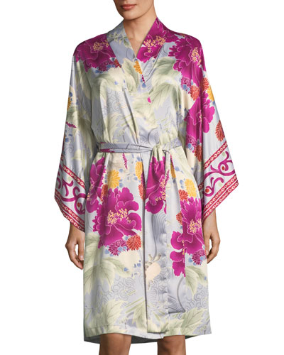 Auburn Floral Long Sleeve Robe