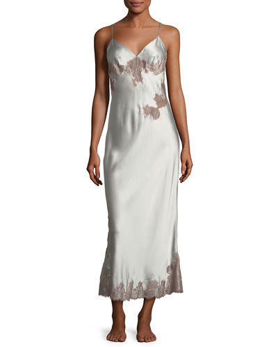 Lillian Long Sleeveless Lace-Trim Nightgown