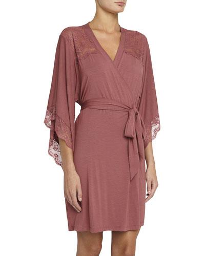 Petunia Lace-Trim Kimono Robe