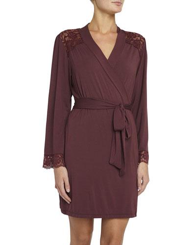 Lila Lace-Inset Short Robe