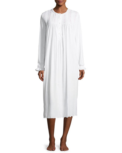 Mercedes Long-Sleeve Cotton Nightgown