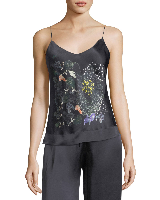 Floral-Print Silk Camisole